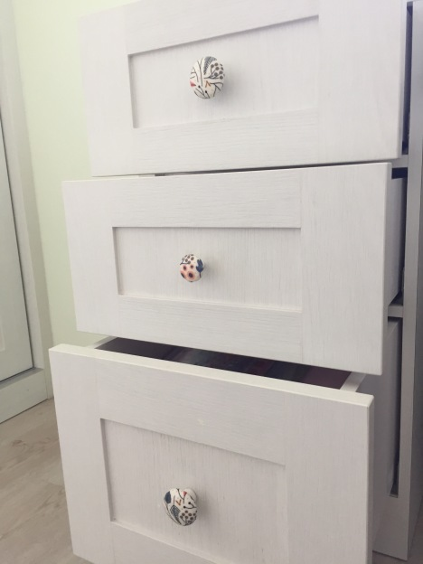 Decoupage study room drawer knobs