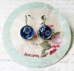New Blue Floral Earrings @ $9.90