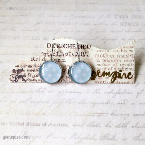 Baby Blue Floral Dangling Earrings @ $12.90