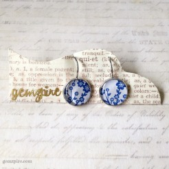 Blue & White Floral Dangling Earrings @ $12.90