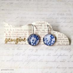 Blue & White Floral Dangling Earrings @ $12.90
