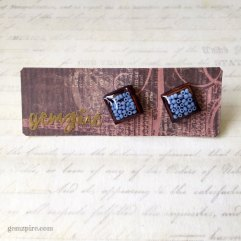 Square Blue Beady Earrings @ $11.90