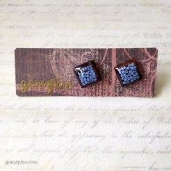 Square Blue Beady Earrings @ $11.90