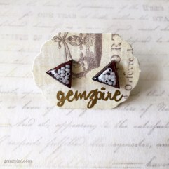 Triangular White Beady Earrings @ $11.90