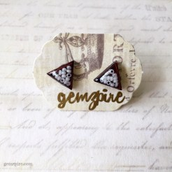 Triangular White Beady Earrings @ $11.90