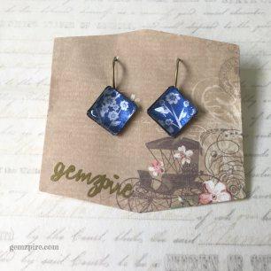 White & Blue Diamond Dangling Earrings @ $11.90 (SOLD)