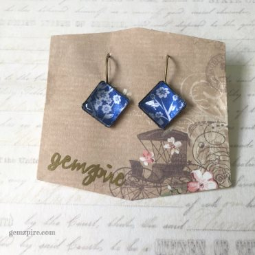 White & Blue Diamond Dangling Earrings @ $11.90 (SOLD)