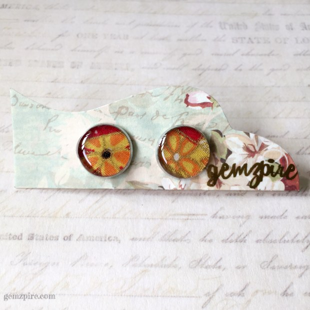 yellow-floral-clip-on-earrings