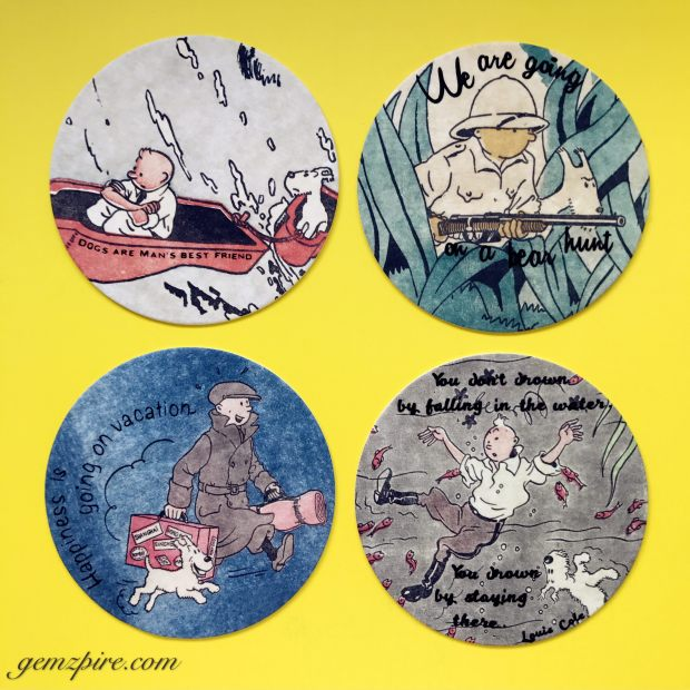 TinTin Coasters with Quotes