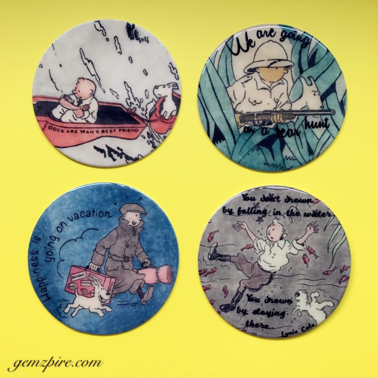 Waterproof Tin Tin Coasters with Quotes